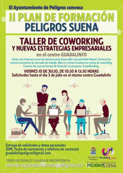 Cartel del Taller de coworking en Peligros