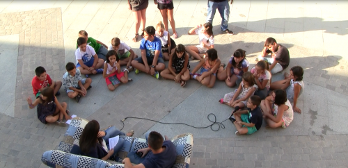 Los niños durante la actividad